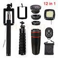 8x de zoom telefoto fisheye lente grande angular macro lentes clips tripé selfie luz de preenchimento 7 12in1 kit para iphone 5 5s 6 6 s plus
