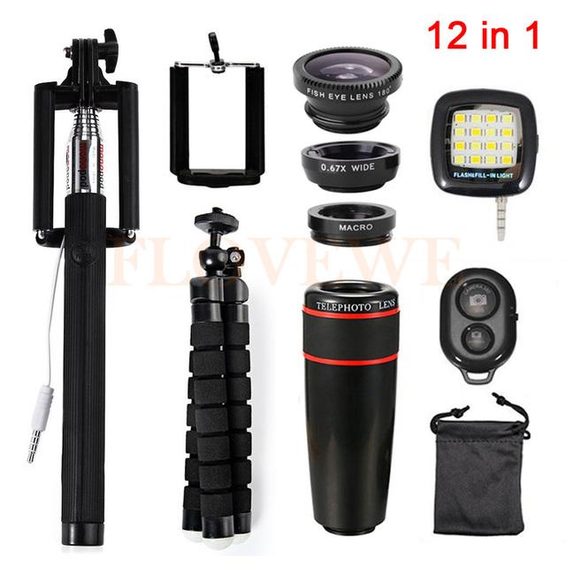 8x de zoom teleobjetivo lentes de ojo de pez de gran angular macro trípode clips selfie luz de relleno 12in1 kit para iphone 5 5s 6 6 s 7 plus