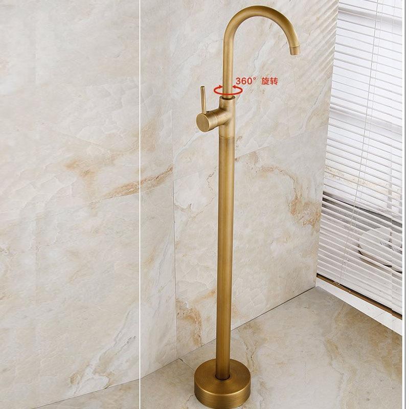 POIQIHY True Brass Free standing Bathtub Faucet Tub Filler Floor ...