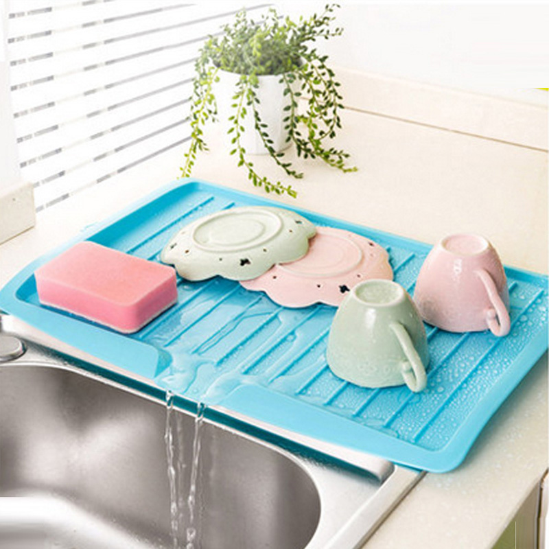 4 Color Kitchen Plastic Worktop Dish Drainer Drip Tray Large Kitchen Sink Drying Rack Holder