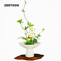 Japanese Ikebana High White Bowl Ceramic Containers Hydroponic Flower Pot Fruit Plate Vase Ceramic Containers Vintage Home Decor