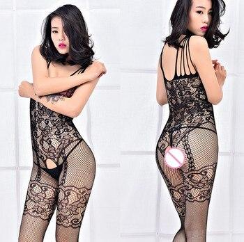 Sexy Lencería de talla grande 3XXXL Body Stocking talla grande entrepierna abierta busto Catsuit malla picardías Sexy para mujer
