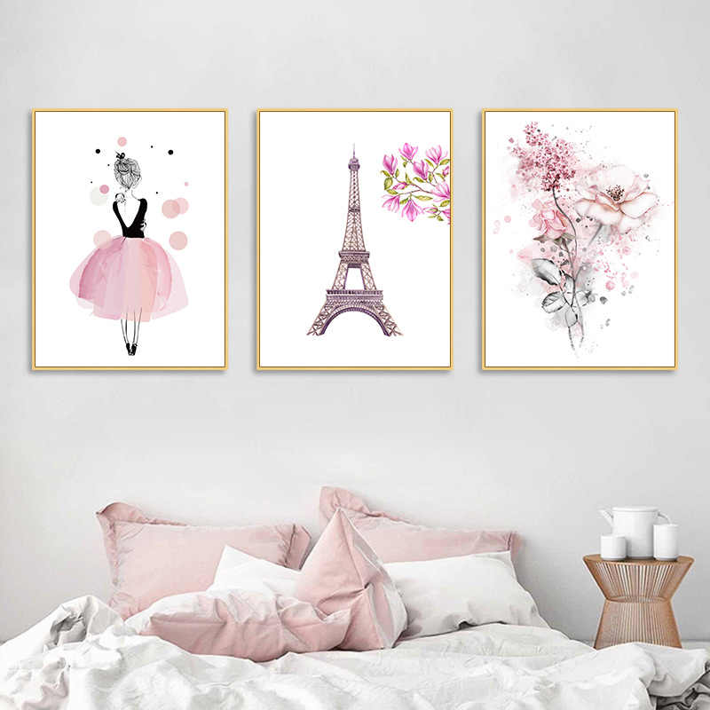 Watercolor Pink Princess Paintings Canvas Flowers Wall Art Pairs Poster Nordic Pictures for Girl Kids Room Decoration Home Decor