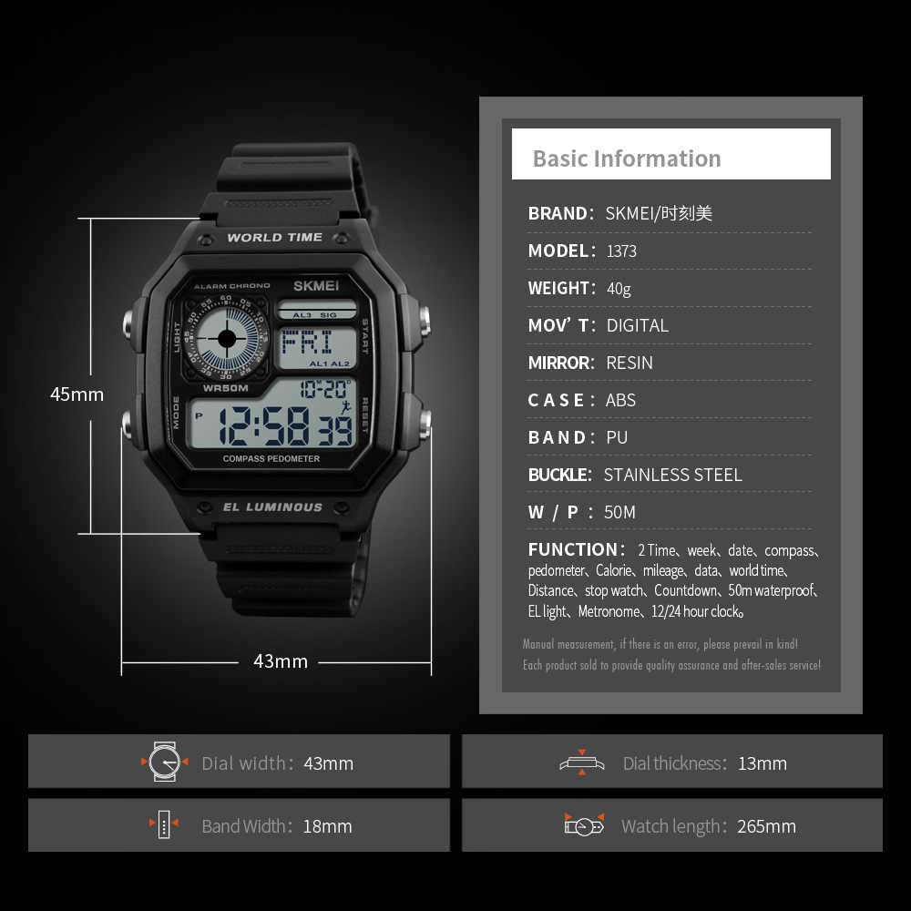 Contagem regressiva Relógio Do Esporte Bússola SKMEI relogios masculino Top Marca de Luxo relógio masculino de Pulso À Prova D' Água LED Eletrônico Digital relogio masculino