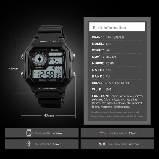 Countdown Compass Sport Watch SKMEI Mens Watches Top Brand Luxury Men Wrist Watch Waterproof LED Electronic Digital Male Watch