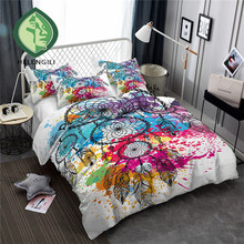 HELENGILI 3D Bedding Set Color ink Dreamcatcher Print Duvet cover set bedclothes with pillowcase bed home Textiles #YN-14