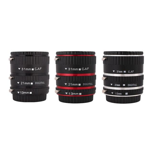 Kaliou 13mm 21mm 31mm Auto Focus Macro Extension Tube Set für Canon EF EF S Objektiv Canon 700d t5i 7d 5d Schwarz Rot Silber farbe