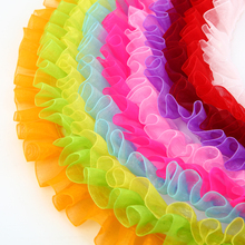 2.5cm Multicolor Snow Yarn Lace Ribbon Fabric High Quality Trim DIY Embroidered For Sewing Cloth Decoration