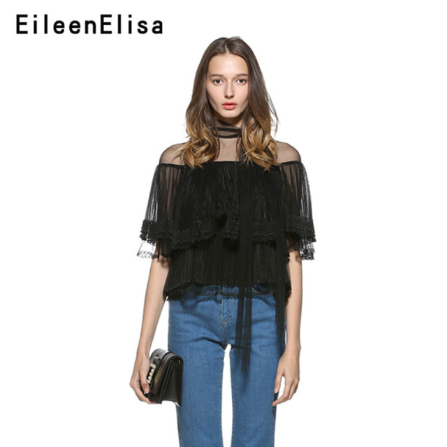 Eileen Elisa Lace Blouses Women Female Shirt Tops Elegant 2018 Autumn Bow Neck Collar Blouse Transparent Sleeves