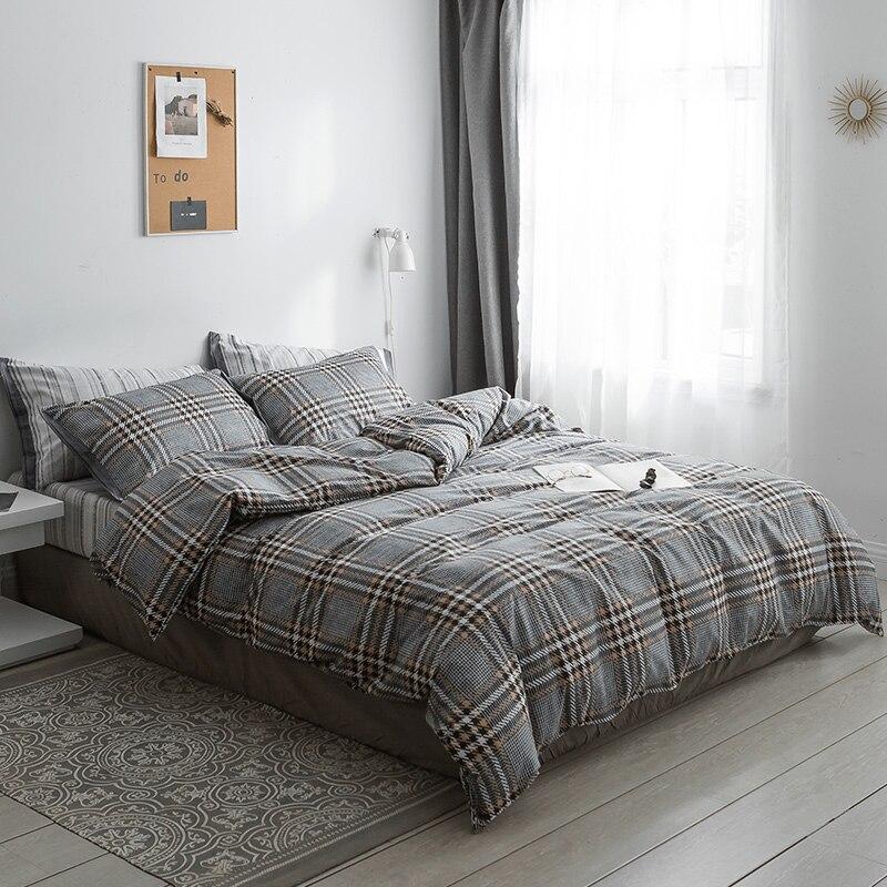 Schwarz grau plaid Bettwäsche Sets 100% baumwolle Bettwäsche Bettwäsche Bettlaken/ausgestattet blatt Kissenbezug/bett Sets königin könig größe 4 stücke - 2