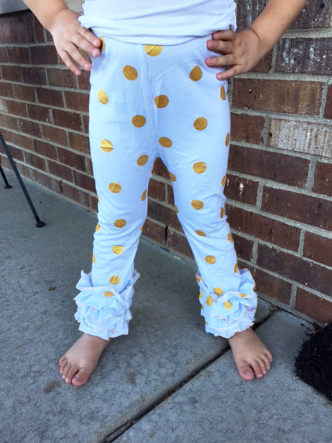 10619851d5e5c Gold Polka Dot Leggings,Metallic Soft cotton jersey knit pants,triple  ruffle bottoms,Baby Girl's Holiday New Year's leggings