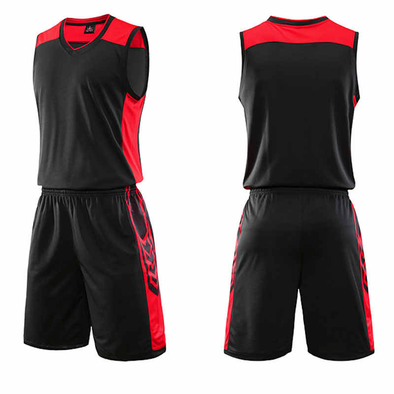 Women men basketball jersey set pocket college team basketball training suit breathable basketball jersey set uniform customized