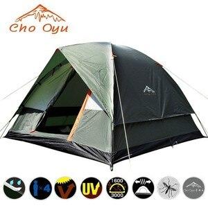 Image 1 - 3 4 אדם שובר רוח קמפינג אוהל שכבה כפולה עמיד למים אנטי UV תיירות לטיולים דייג חוף נסיעות 4 עונה אוהל