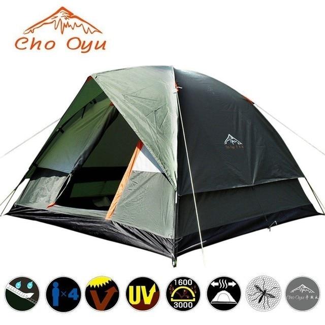3 4 אדם שובר רוח קמפינג אוהל שכבה כפולה עמיד למים אנטי UV תיירות לטיולים דייג חוף נסיעות 4 עונה אוהל