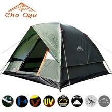 Tente de Camping coupe vent 3 4 personnes double couche imperméable Anti UV tentes touristiques pour la pêche randonnée plage voyage tente 4 saisons