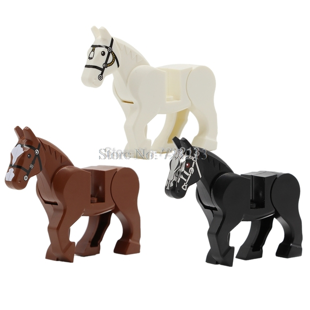 1Pc Horse Building Blocks Wild Animal Figure Set Military SWAT MOC Accessories Big Building Blocks Sets Kits Bricks Toys