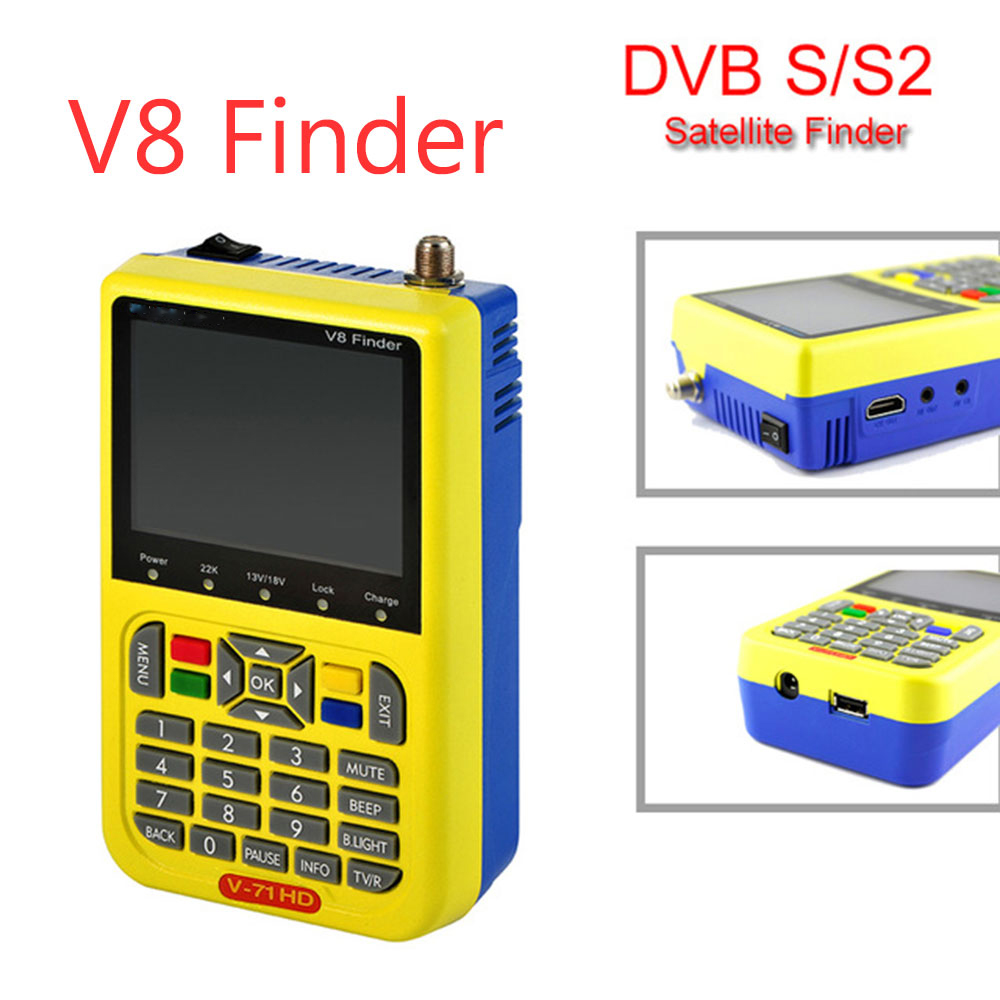 Newest Digital Satellite Finder Meter V8 Finder HD DVB-S2 FTA LNB Signal Satellite TV Receiver PK Satlink 6933 6906 1pc original satlink ws 6933 ws6933 dvb s2 fta c ku band digital satellite finder meter free shipping