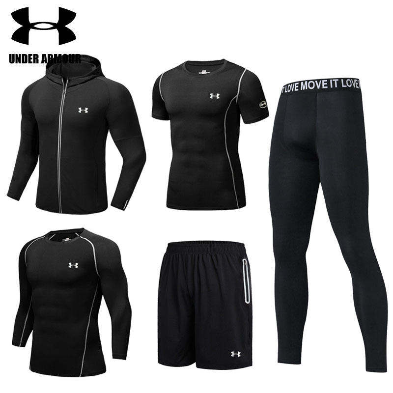 Under Armour Men Gym Clothing Male outdoor training Running Sets breathable  Sports suits 5 pieces survetement homme high quality-in Running Sets from  Sports ... ce0ec26d7