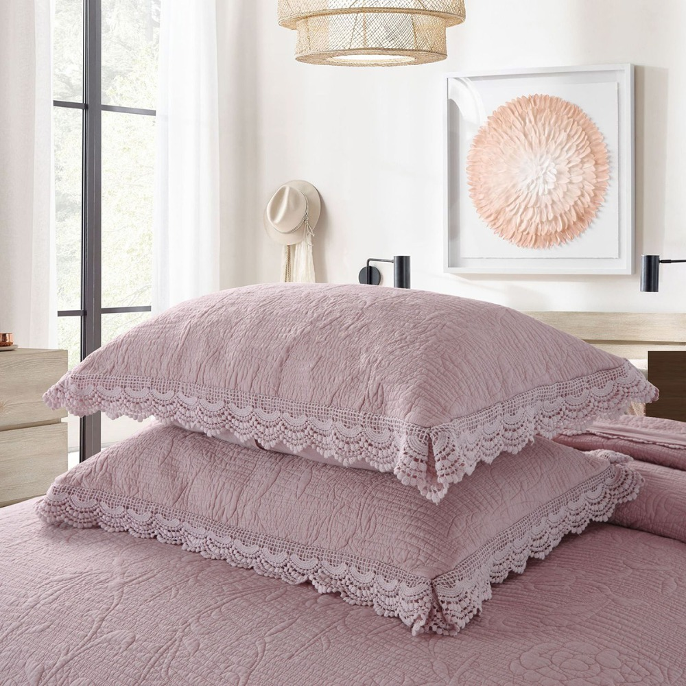 Franch Embroidered Quilt Set 3PCS Lace Solid Bedspread Cotton Quilts Quilted Bed Covers Pillowcase King Queen Size Coverlets-in Quilts from Home & Garden    2