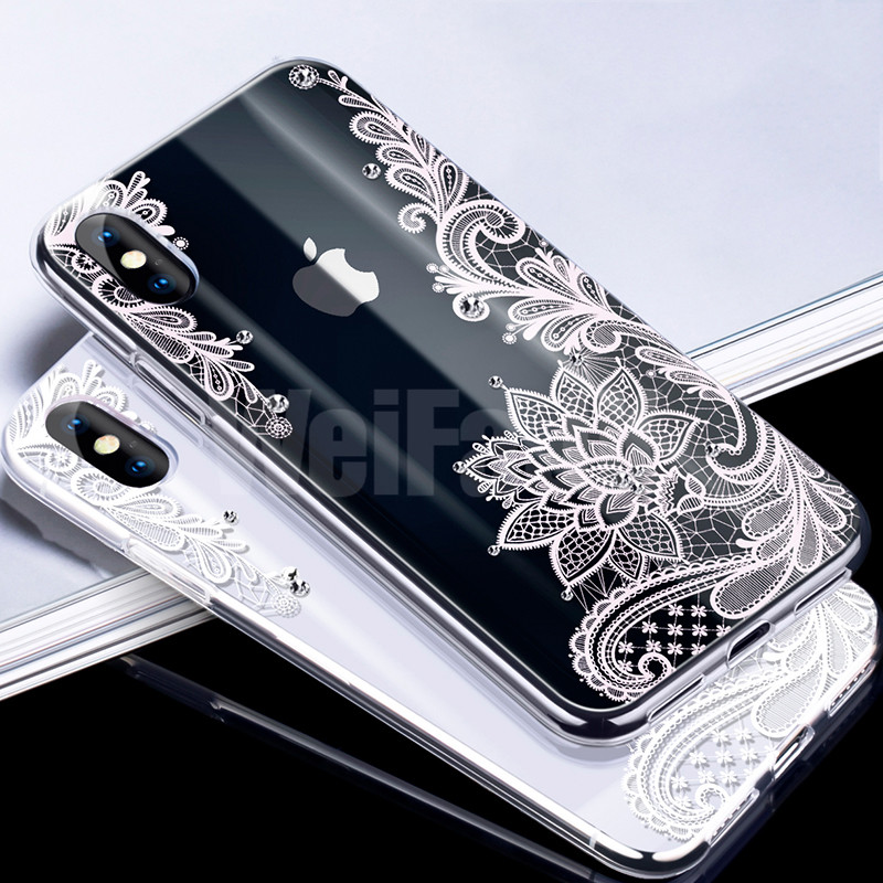Galleria fotografica WeiFaJK Sexy Lace Floral Pattern Silicone Phone Case For iPhone 6 7 X Case Soft TPU Full Cover For iPhone 6 6s 7 8 Plus 7 X Case