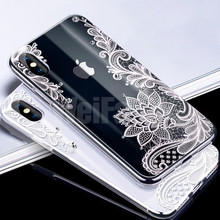 WeiFaJK Sexy Lace Floral Pattern Silicone Phone Case For iPhone 6 7 X Case Soft TPU Full Cover For iPhone 6 6s 7 8 Plus 7 X Case стоимость