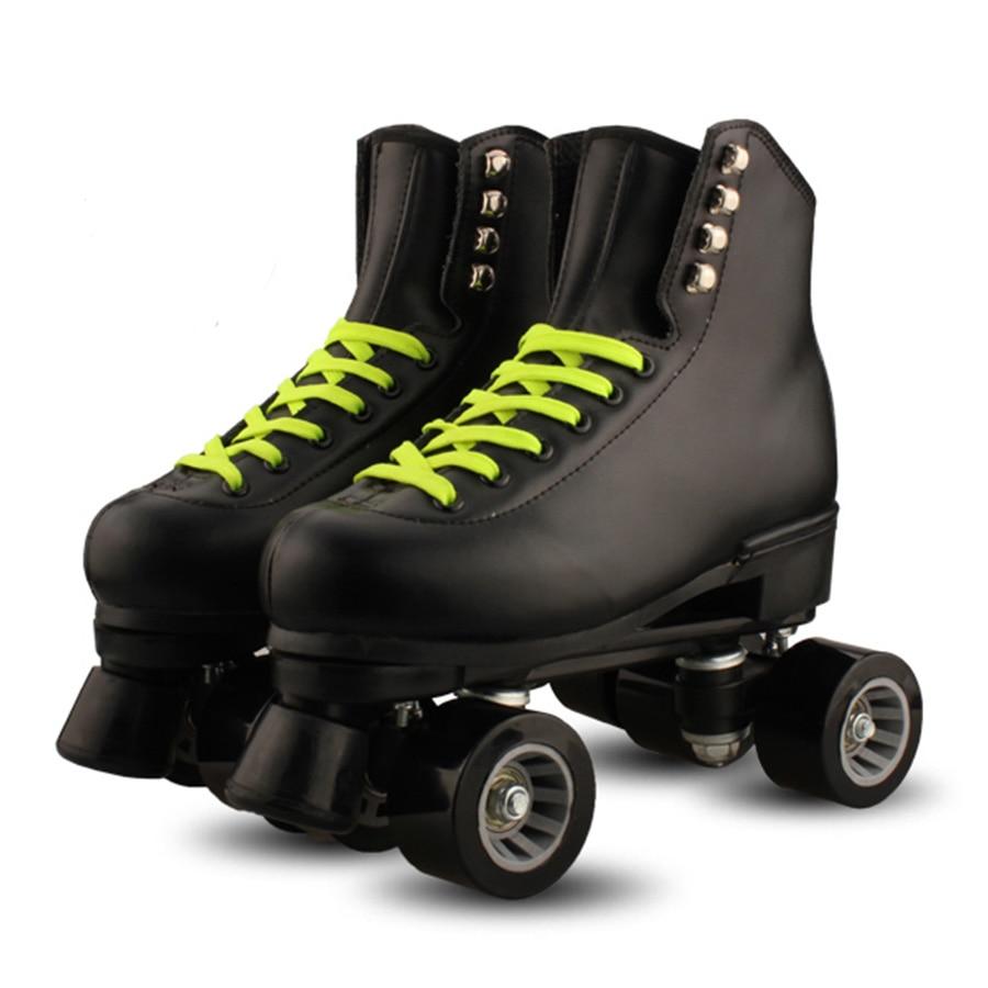 Roller skate shoes in sri lanka - Reniaever Roller Skates Leather Double Line Skates Lady Plastic Steel Base 4 Speed Pu Wheels