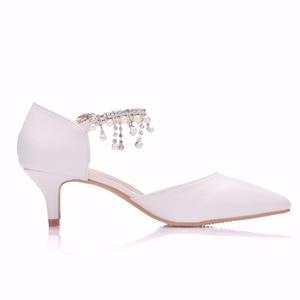 Image 4 - Crystal Queen sandales à talons hauts pour femmes, 5cm, chaussures dété à bout pointu, simple, strass, chaussures pour les dames Mary Janes