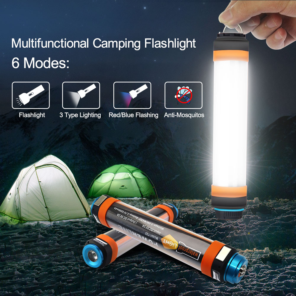 LED Camp Lights Flashlight USB Rechargeable Multi-functional Portable Hanging Magnetic Hiking IP68 Waterproof Camping Lantern