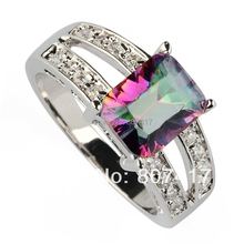 SHUNXUNZE Engagement Wedding Time limited discount Rainbow and White Cubic Zirconia jewelry Silver Plated Rings R782 sz#6 7 8 9