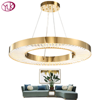 Youlaike круг светодио дный LED люстра освещение для гостиная Золото Современные хрустальные лампы спальня полированная сталь кольцо люстры де