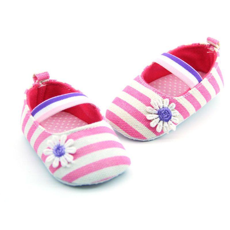 Младенческая малыш девушки хлопок первые ходунки милые цветочные полосатый принцесса обувь