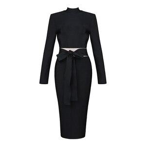 Image 5 - ADYCE kadınlar bandaj elbise 2020 yeni varış sonbahar siyah uzun kollu yay Bodycon kulübü elbise ünlü parti pist elbise Vestidos
