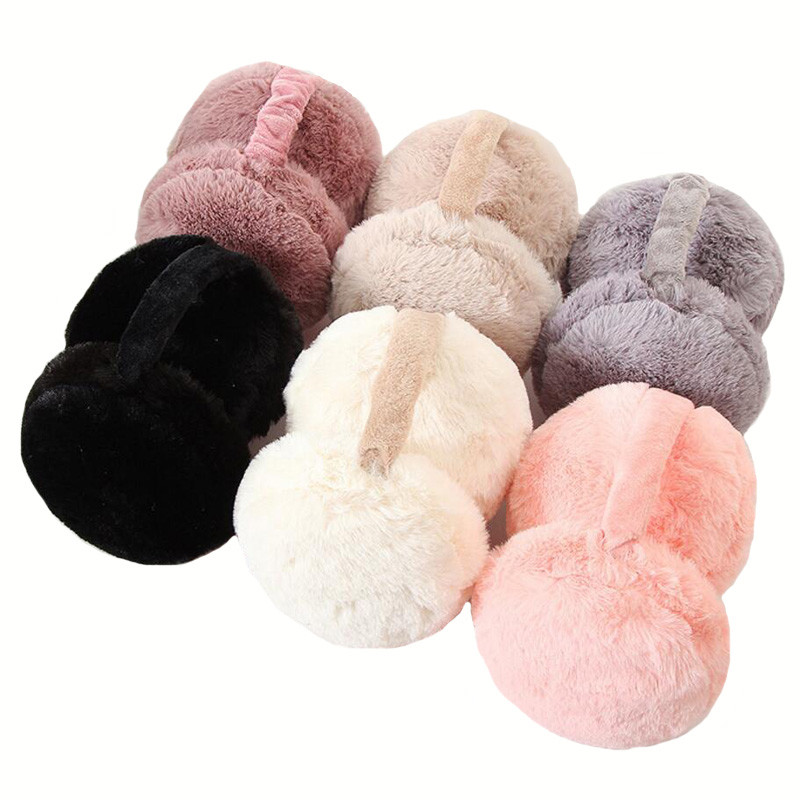 VIIANLES Winter Earmuffs Warm Fashion Rabbit Fur Earmuffs For Women Brand Fur Ear Warmer Solid Earmuffs  Ear Cover For Girl