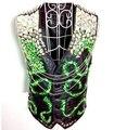 2016 новый мужской моды певица ds танцовщица костюм Limited edition dj электрооптический неон зеленый драгоценный камень мотоцикл кожаный жилет