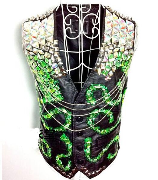 2016 nueva moda hombre bailarín del cantante traje ds dj neón electroóptico gema verde de edición Limitada de la motocicleta chaleco de cuero