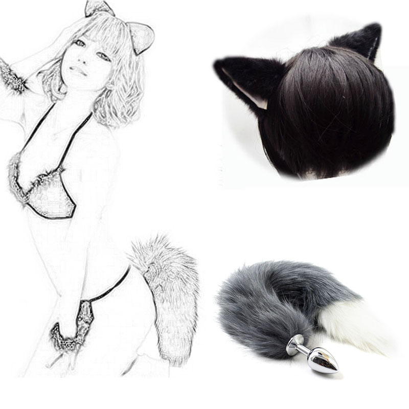 Adult Butt Plug Metal Feather Fetish Faux Fox Tail Plug Anus Sex Toys For Woman Couples Men Gay Adult Games Erotic Accessories