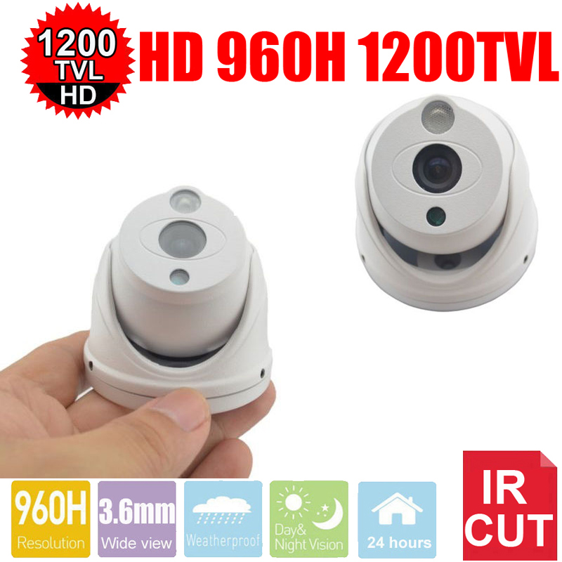 Vanxse CCTV 1/3 SONY CMOS 960H 1200TVL HD Mini Array Leds  IR-CUT 3.6mm Mini Armour Dome Surveillance Security Camera 2015 newest cheapest freeshipping 6 array leds cctv camera cmos 700tvl plastic bullet hd mini monitoring security camera