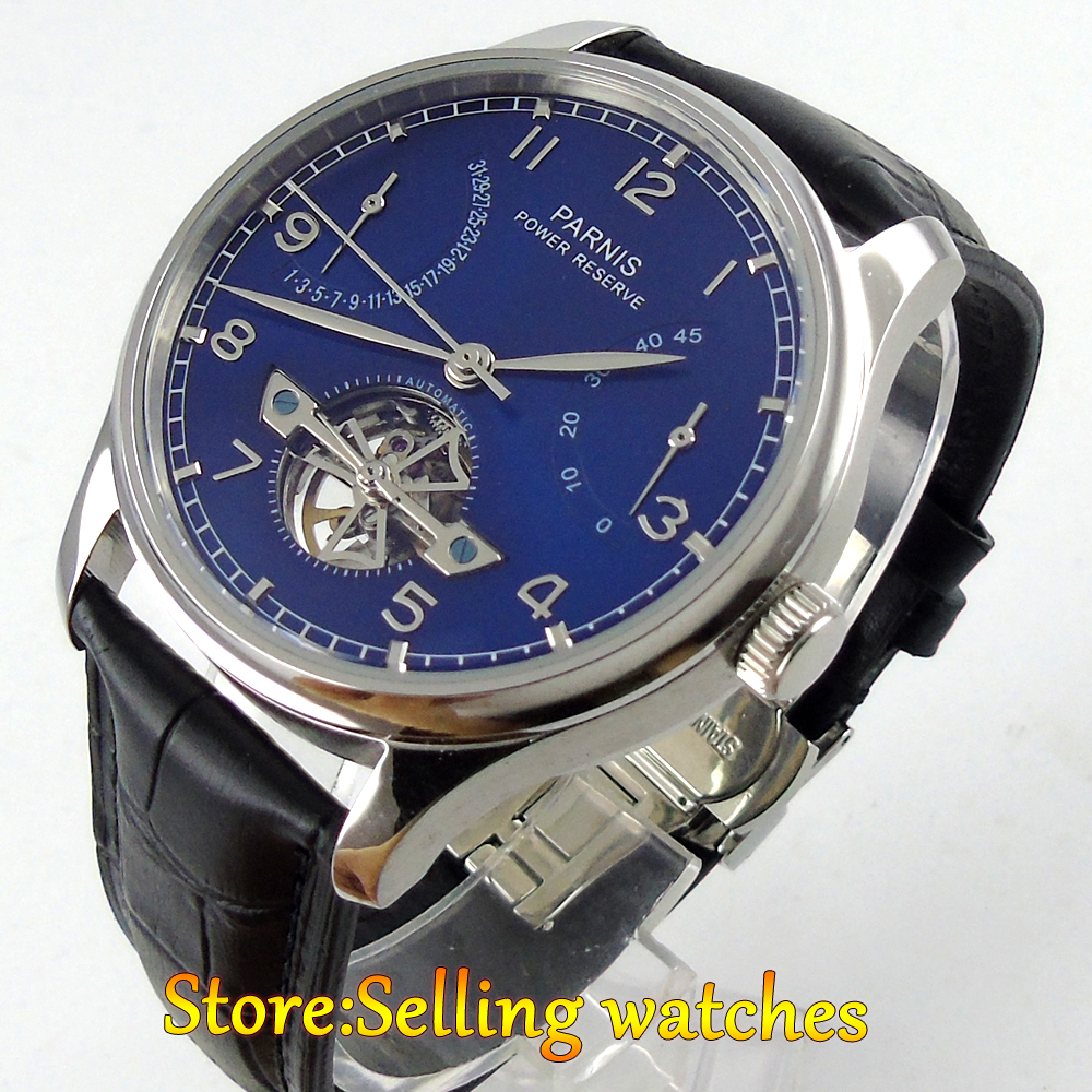 43mm parnis blue dial deployment clasp power reserve automatic mens watch 547