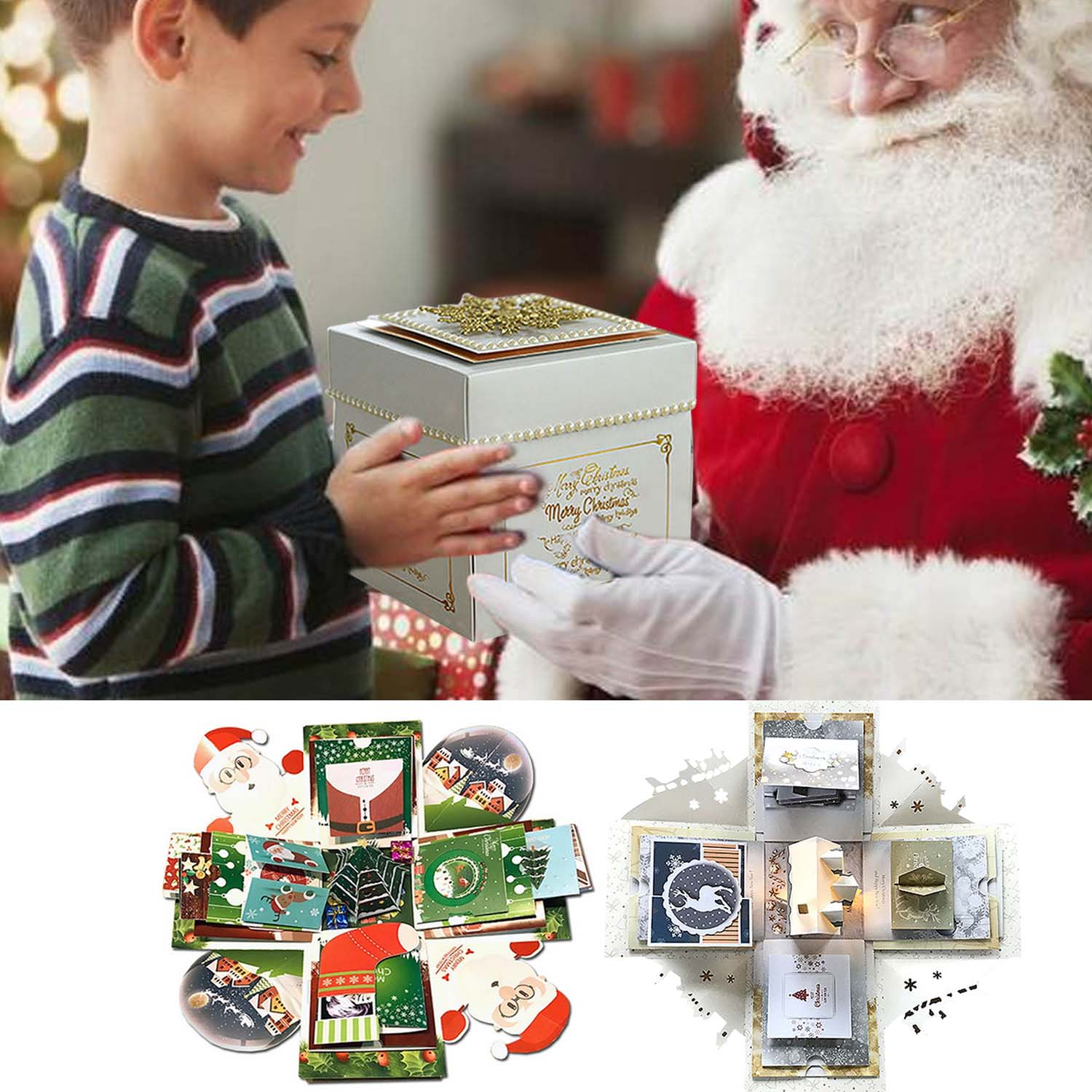 Behogar Christmas Theme Surprise Explosion Box DIY Scrapbook Photo Album Box with Accessories for Lover Family Friend Xmas GiftsBehogar Christmas Theme Surprise Explosion Box DIY Scrapbook Photo Album Box with Accessories for Lover Family Friend Xmas Gifts