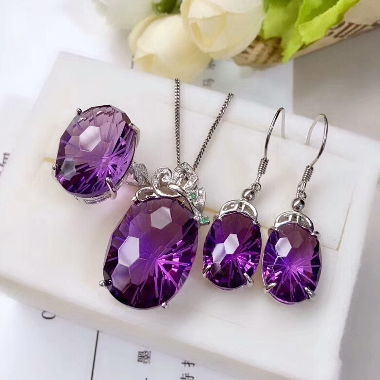MeiBaPJ Natural High Quality Amethyst Gemstone Fine Wedding Jewelry Set 925 Pure Silver Necklace Ring Earrings