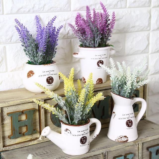 Startseite Hochzeit Dekor Retro Weiß Keramik Blumentopf mit ...