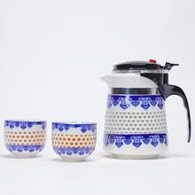 Chinese Kung Fu Tea Set For Family Home Teaware Durable Porcelain Teapot Ceramics Blue Floral White