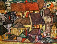 abstract Landscape paintings Yellow City Egon Schiele art for sale Home decor High quality Handmade