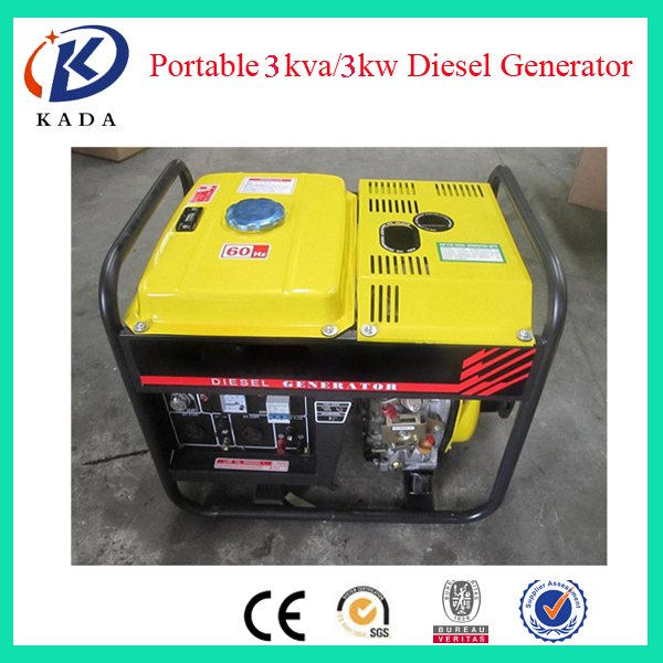 3KVA Air Cooled Diesel Generator Single Phase Open Type Diesel Generator 3KW 50HZ 220V 1500RPM
