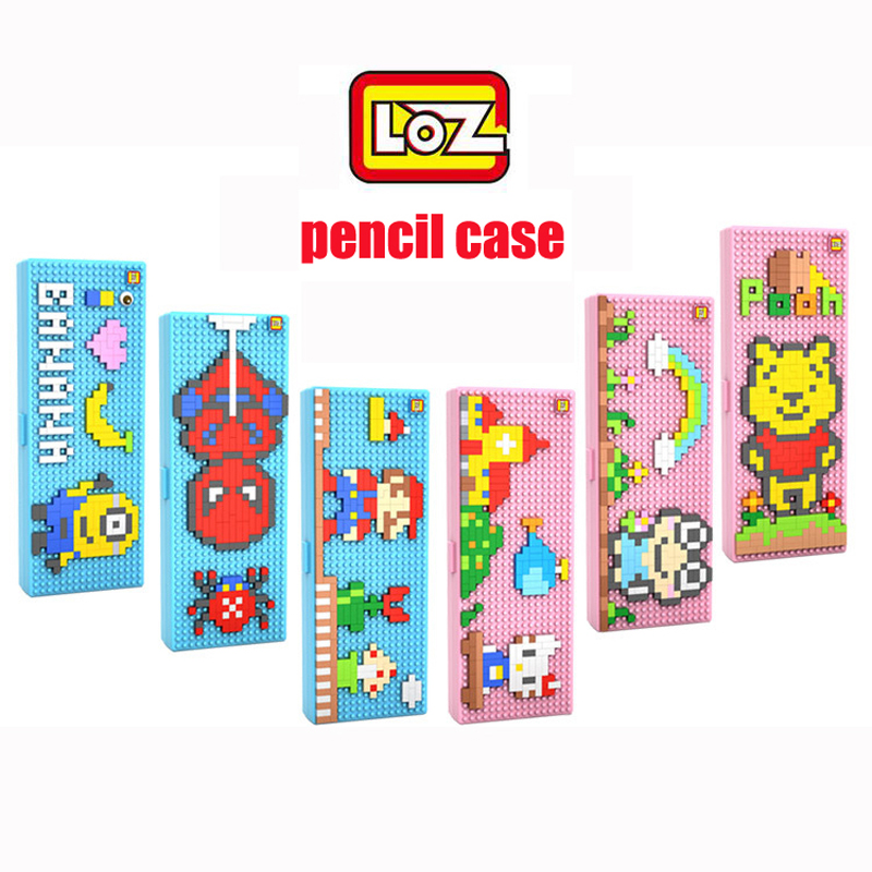 LOZ Diamond Building Blocks DIY 3D Minions Spider Man Mario Hello Kitty Pencil Case Mini Nano Bricks Children Education Toys super hero loz building blocks nano bricks diy spider man batman superman flash green lantern figure assembled toys gift for kid