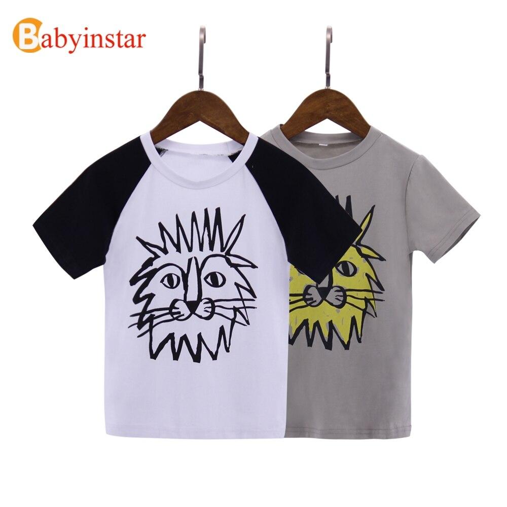 Babyinstar Boys T-shirt Fashion Cartoon Lion Pattern GirlS Tops Tee Summer Short Sleeve Outfits Casual 1-6 Yrs Kids T Clothe