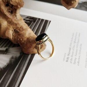 Image 2 - LouLeur Bạc 925 Nguyên Bản Mã Não Đen Mở Nhẫn Vàng Tính Khí Thiết Kế Sang Trọng Cho Nữ, Nhẫn Nữ Lễ Hội Trang Sức