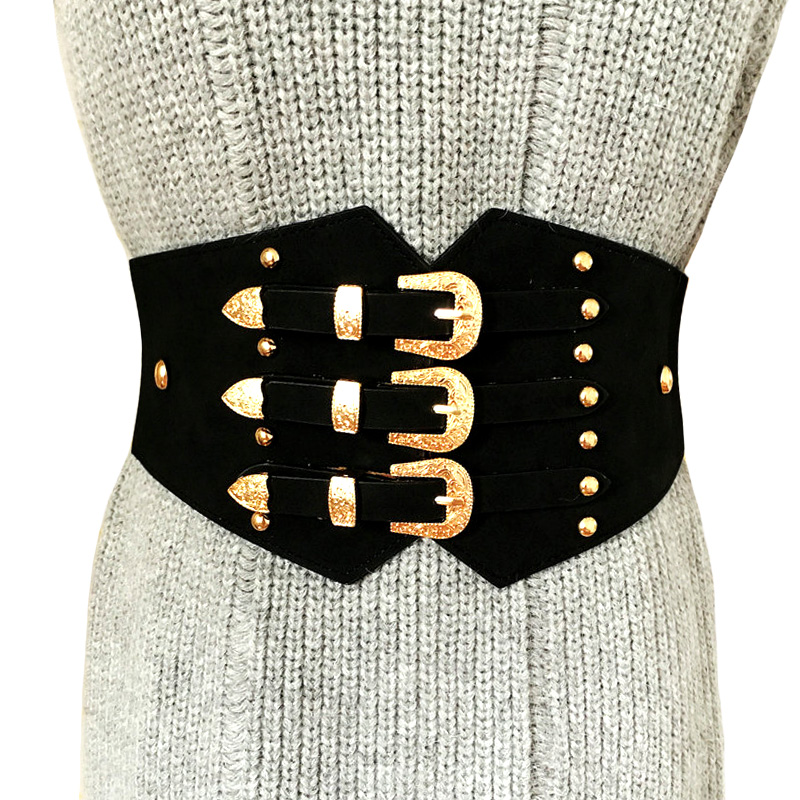winter new Vintage Retro Carved Metal Wide Double Buckle   Belt   Adjustable PU elastic Waistband Women Elastic   Belt   For coat
