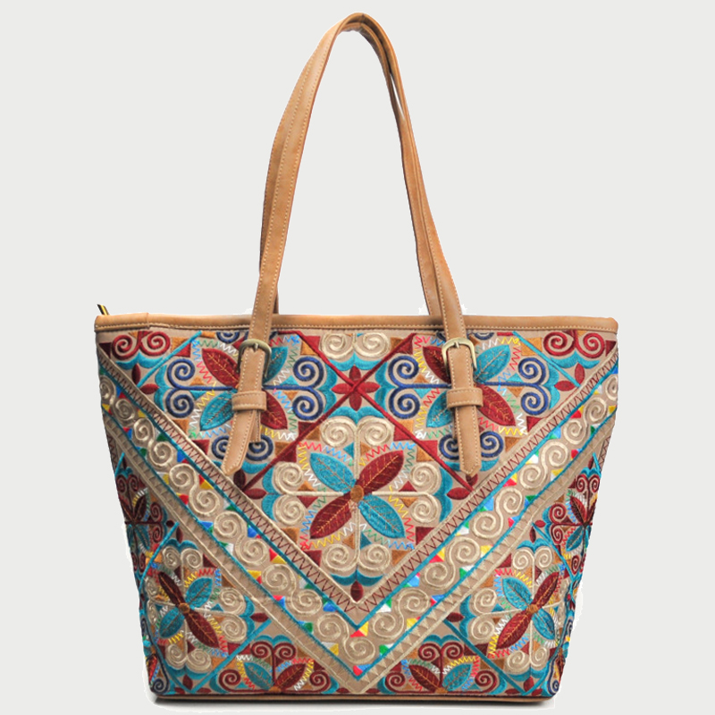 Large India Thai Style National Embroidered Tote Bag Casual Women Chinese Hmong Handbags Shopping Bags Large Big Shoulder Bag tote bag