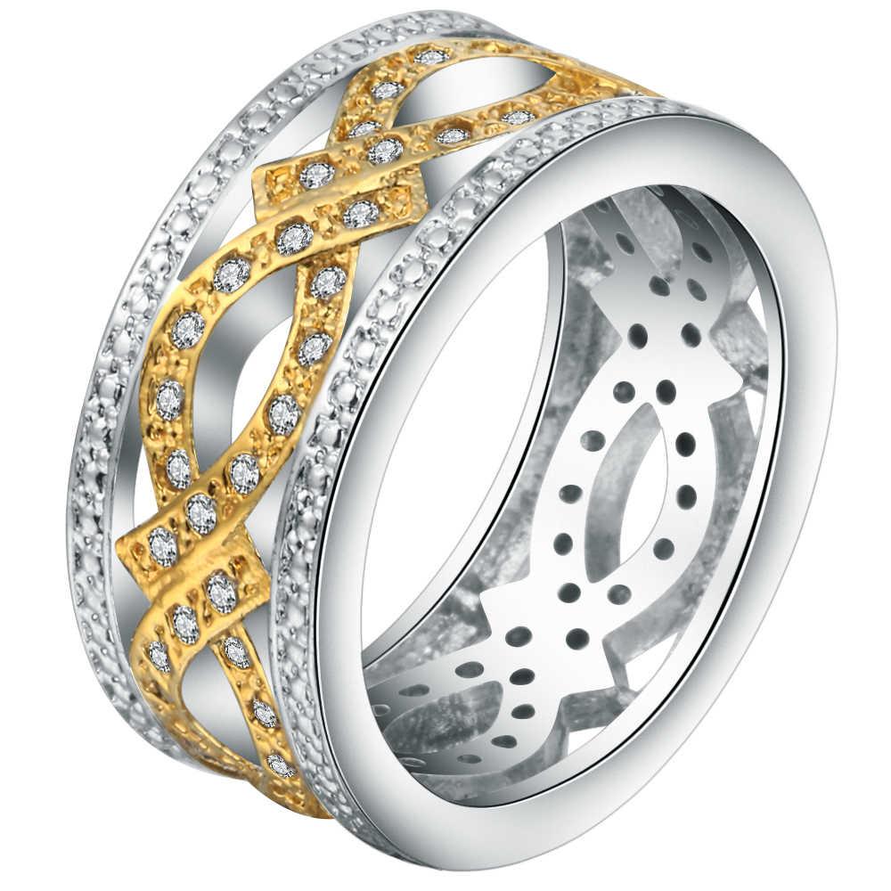 Последние кубические циркония полые Круглый перстень для мужчин серебро золото заполнены Винтаж CZ Обручальные кольца для женщин мужчин пользовательские ювелирные изделия